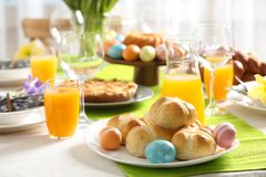 Festive Easter table setting. With traditional meal royalty free stock images