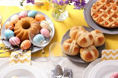 Festive Easter table setting with traditional meal. Above view stock photo