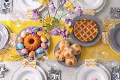 Festive Easter table setting with traditional meal. Top view royalty free stock image