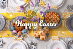 Festive Easter table setting with traditional meal. Top view stock photos