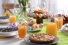 Festive Easter table setting with traditional meal. At home royalty free stock photos