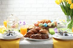 Festive Easter table setting with traditional meal. At home royalty free stock images
