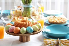 Festive Easter table setting with traditional meal. Space for text royalty free stock photography