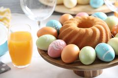 Festive Easter traditional meal on table, closeup. With space for text stock image