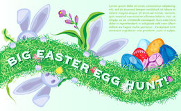 Festive Easter vector horizontal poster with bunnys and eggs Royalty Free Stock Photo