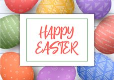 Festive easter white wooden background. Easter colorful eggs with simple ornaments Happy Easter. Close up and above. Vector illustration. Postcard template Royalty Free Stock Image