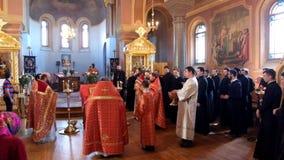 Festive Easter worship at Saint Nicholas monastery in Staraya Ladoga.Russia. stock footage