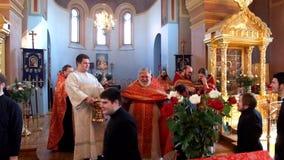 Festive Easter worship at Saint Nicholas monastery in Staraya Ladoga.Russia. stock video