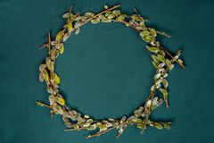 Festive easterly willow branching in the form of a circle, a texture. 2019 stock images