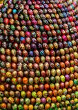 Festive eggs close up. Decorative elements on the street. Religious symbols in the shop window stock photo