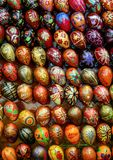 Festive eggs close up. Decorative elements on the street. Religious symbols in the shop window stock photos