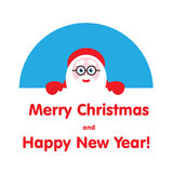 Festive element Santa looks out. Illustration Royalty Free Stock Images