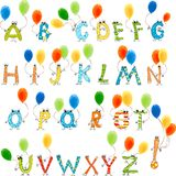 Festive English alphabet. Alphabet of cartoon multi-colored letters Royalty Free Stock Photography