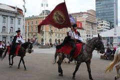 Festive equestrian parade on the occasion of Veterans of the City of Zagreb. Zagreb, Croatia: feb 17. 2017 - Festive equestrian parade on the occasion of Royalty Free Stock Photo