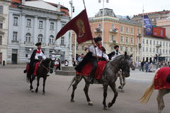 Festive equestrian parade on the occasion of Veterans of the City of Zagreb. Zagreb, Croatia: feb 17. 2017 - Festive equestrian parade on the occasion of Stock Photography