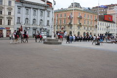 Festive equestrian parade on the occasion of Veterans of the City of Zagreb. Zagreb, Croatia: feb 17. 2017 - Festive equestrian parade on the occasion of Royalty Free Stock Image
