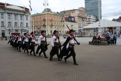 Festive equestrian parade on the occasion of Veterans of the City of Zagreb. Zagreb, Croatia: feb 17. 2017 - Festive equestrian parade on the occasion of Stock Photos