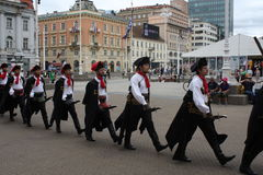 Festive equestrian parade on the occasion of Veterans of the City of Zagreb. Zagreb, Croatia: feb 17. 2017 - Festive equestrian parade on the occasion of Royalty Free Stock Photos