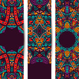 Festive ethnic banner set. Festive colorful ornamental floral vector ethnic banner set Stock Photography