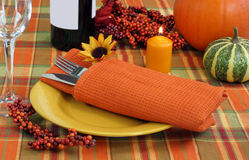Festive Evening Table Setting for Autumn Royalty Free Stock Photo