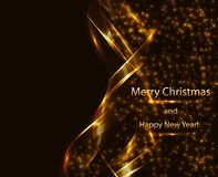 Festive expensive background in the form of abstract golden waves and sparkling stars. On a dark background stock illustration