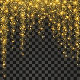 Festive explosion of confetti. Gold glitter background for the card, invitation. Holiday Decorative element. Illustration of falling shiny particles and stars Royalty Free Stock Photos