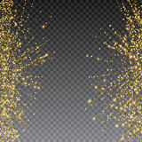 Festive explosion of confetti. Gold glitter background for the card, invitation. Holiday Decorative element. Illustration of falling shiny particles and stars Royalty Free Stock Image