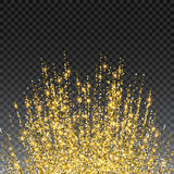 Festive explosion of confetti. Gold glitter background for the card, invitation. Holiday Decorative element. Illustration of falling shiny particles and stars Royalty Free Stock Photography