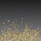 Festive explosion of confetti. Gold glitter background for the card, invitation. Holiday Decorative element. Illustration of falling shiny particles and stars Stock Photos
