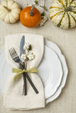 Festive fall autumn Thanksgiving table setting with natural botanical decorations and white fabric tablecloth background. Festive fall autumn Thanksgiving table Stock Photos