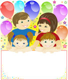 Festive family. Happy family holding a big poster on the background of the balls and stars Royalty Free Stock Photo