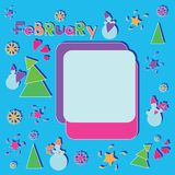 Festive February. Winter frame. Вright cartoon drawing for children. Design for the calendar, planning, sechbuk. Flat style Royalty Free Stock Photos