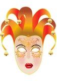 Festive feminine mask. Illustration festive feminine mask with campanula and gold(en) pattern Royalty Free Stock Photos