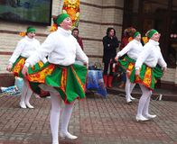 Festive festivities for the Shrovetide week. Girls in national costumes on a  Holiday festivities at the Pancake week in Russia, smolensk Stock Images