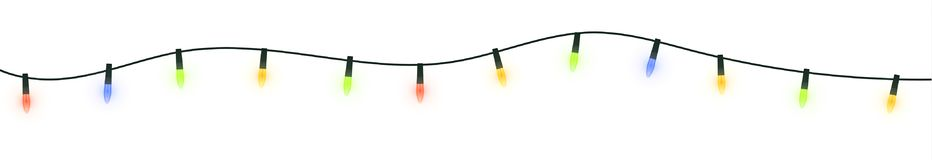 Festive festoon lights. Christmas garland isolated on white background Stock Photos