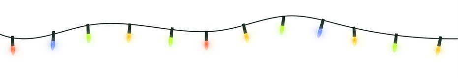 Festive festoon lights. Christmas garland isolated on white background Stock Photos