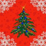 Festive fir tree. New year's fir tree on red background Stock Photos