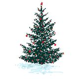 Festive fir tree with red balls isolated on white background. And Vector illustrations Stock Photography