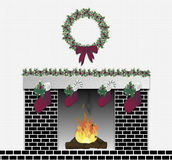 Festive Fireplace Black Stock Image