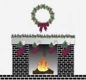 Festive Fireplace Black. Illustration of black brick festive fireplace Stock Image