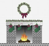 Festive Fireplace Grey. Illustration of grey brick festive fireplace Stock Photos