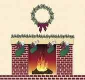 Festive Fireplace Red. Illustration of red brick festive fireplace Stock Images