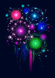 Festive firework. On black background Royalty Free Stock Photo
