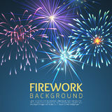 Festive firework abstract vector background. Holiday celebration, festive and explode, festival and carnival, christmas or new, year illustration Stock Photography