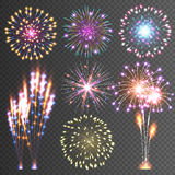 Festive Firework. Abstract Vector Pictograms. Dazzling Light up the sky. Icons on a black Background Royalty Free Stock Photo