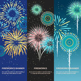 Festive Firework Abstract Vertical Banners. Template set designed for party or anniversary invitation flat vector illustration Stock Image