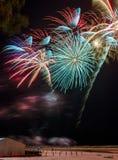 Festive firework on the Baltic beach, Latvia Stock Image