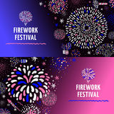 Festive Firework 2 Banners Set. Festive firework radial spiral patterns with stars 2 colorful gradient background horizontal banners set isolated vector Stock Photos