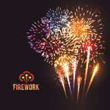 Festive firework black background poster Royalty Free Stock Photos