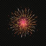 Festive firework bursting circle. Shape sparkling pictogram against black background,  isolated illustration Stock Image